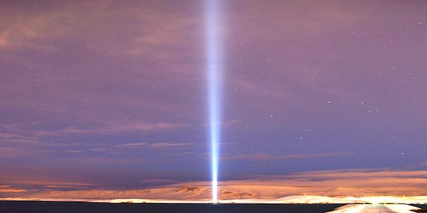 Imagine Peace Tower, Viðey Island, Iceland; image via Imagine Peace Tower © Yoko Ono