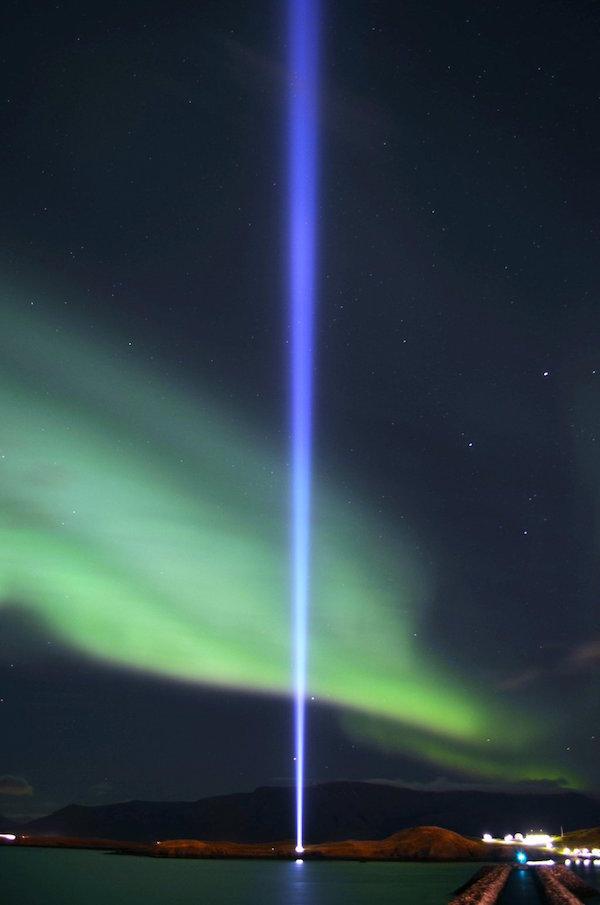 Imagine Peace Tower, Viðey Island, Iceland; image via Imagine Peace Tower © Yoko Ono