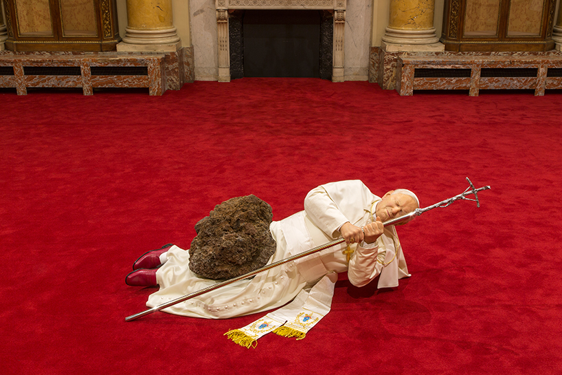 Maurizio Cattelan, La Nona Ora (The Ninth Hour), installation view at the Monnaie de Paris, 2016; polyester resin, silicone gum, pigment, natural hair, cloth, clothing, accessories, stone, carpet; dimensions variable; photo by Zeno Zotti, courtesy Monnaie de Paris
