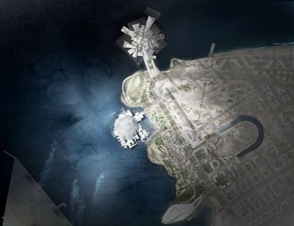 Site plan of the Saadiyat Island cultural district, with the Louvre at center and proposed Guggenheim at top, © Ateliers Jean Nouvel