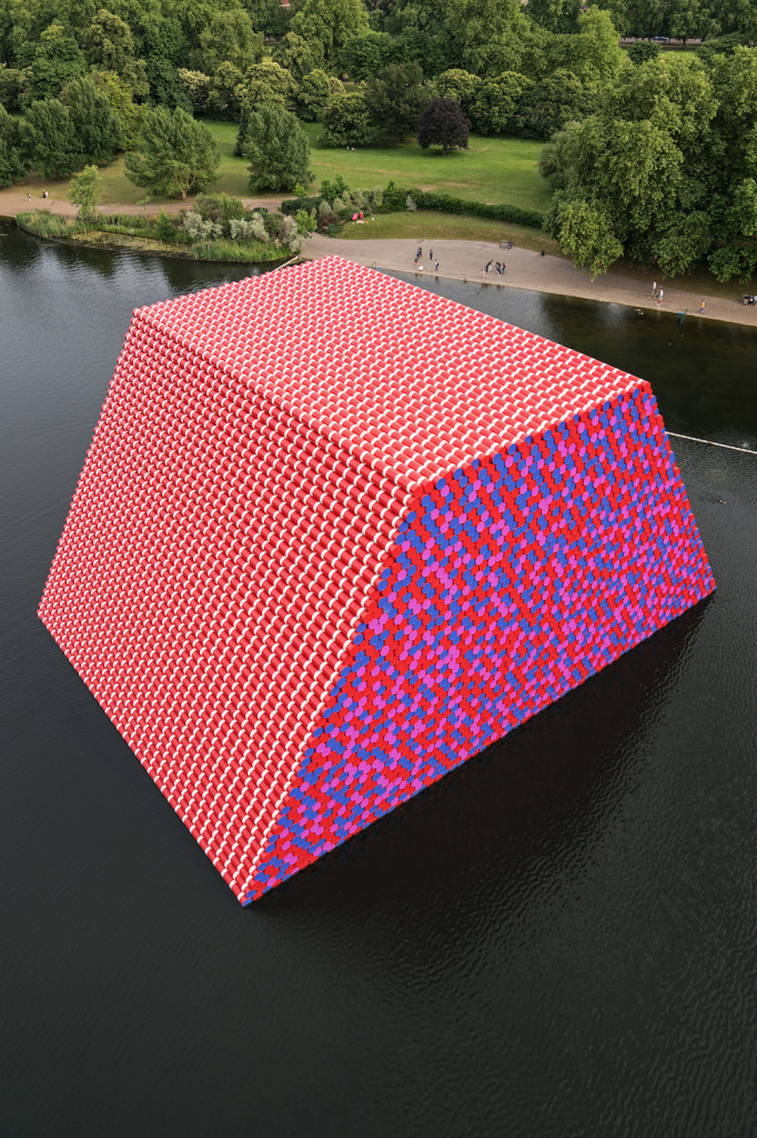 Christo and Jeanne-Claude, The Mastaba (Project for London, Hyde Park, Serpentine Lake), 2016-2018, photo by Wolfgang Volz