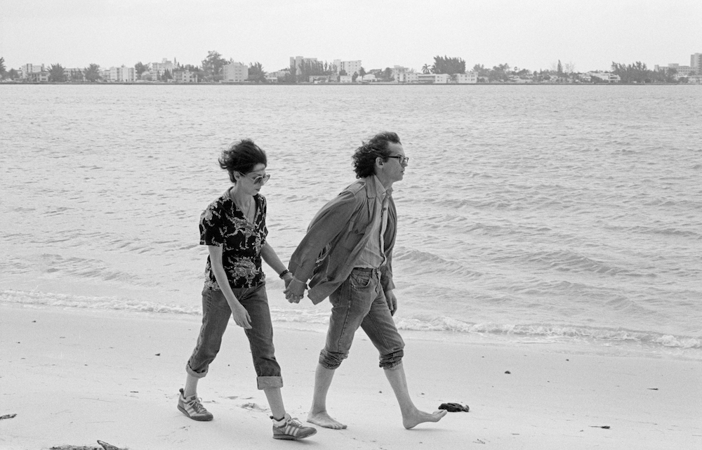 Christo and Jeanne-Claude working on the Surrounded Islands project, Miami, May 1983; photo by Wolfgang Volz