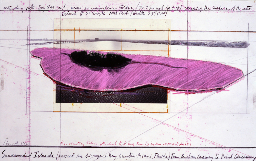 Christo, Surrounded Islands (Project for Biscayne Bay, Greater Miami, Florida), 1982; pencil, fabric, photograph by Wolfgang Volz, pastel, charcoal, and wax crayon; photo by Eeva-Inkeri, © Christo 1982