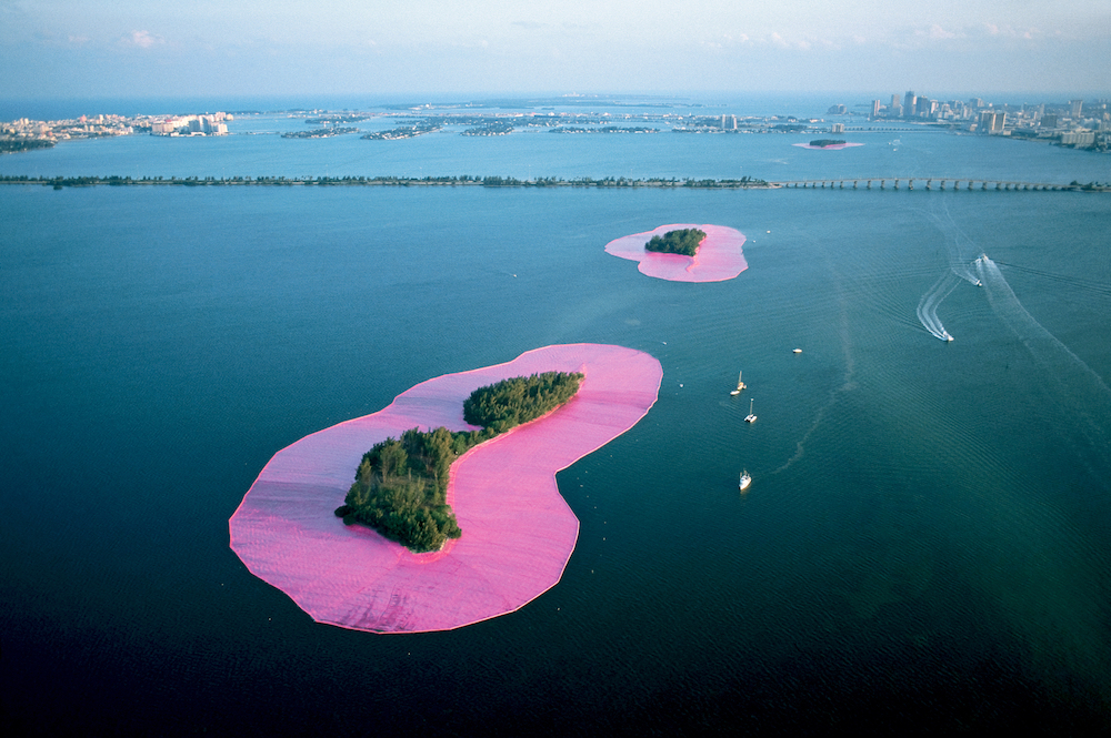 Christo and Jeanne-Claude, documentary photograph of Surrounded Islands, Biscayne Bay, Greater Miami, Florida, 1980–83; photo by Wolfgang Volz, © Christo 1983