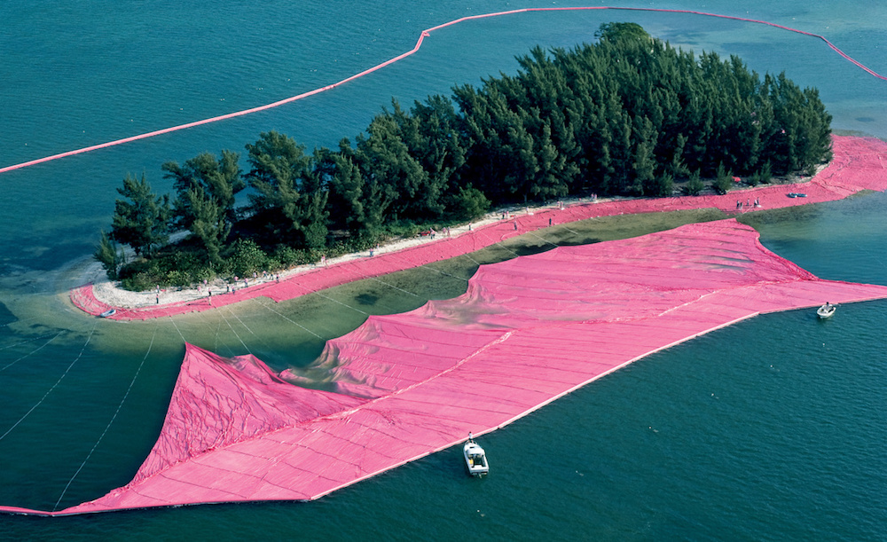Christo and Jeanne-Claude, documentary photograph of Surrounded Islands during installation, Biscayne Bay, Greater Miami, Florida, 1980–83