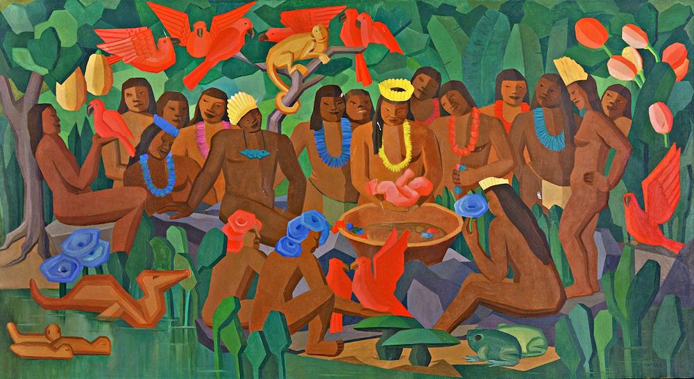 Tarsila do Amaral, O batizado de Macunaíma, 1956, oil on canvas, coleção particular, Rio de Janeiro
