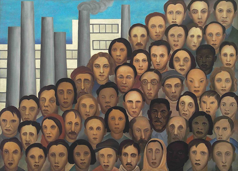 Tarsila do Amaral, Operários, 1933, oil on canvas, Palácio Boa Vista, Estado de São Paulo