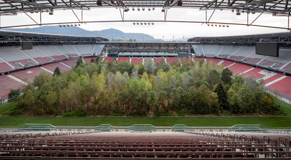 Klaus Littmann, FOR FOREST - The Unending Attraction of Nature, 2019, Wörthersee Stadium, Klagenfurt, Austria; photo by Gerhard Maurer